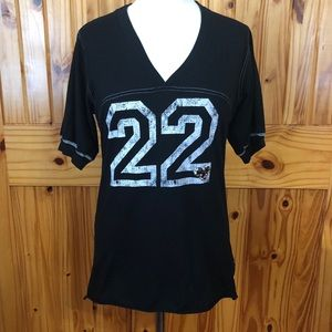 Black jersey style shirt Sz L with lace back
